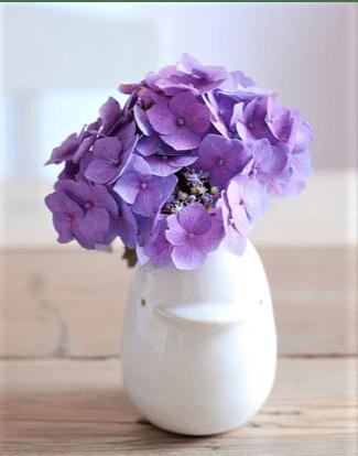 Vasetto bianco con ortensia viola
